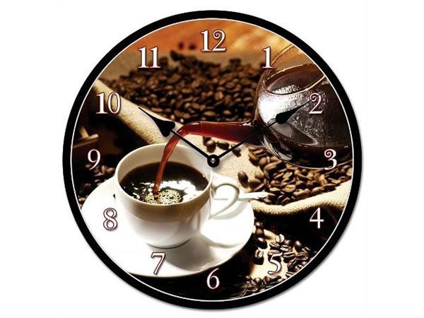 画像1: コーヒーがモチーフの掛け時計【カラー・ブラック】【カラー・ブラウン】