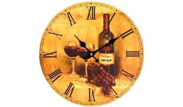 画像1: 赤ワインがモチーフの掛け時計【カラー・レッド】【カラー・イエロー】