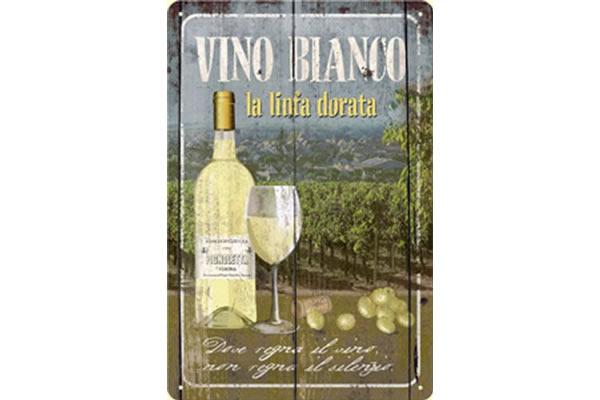 画像1: アンティーク風サインプレート イタリア 白ワイン レリーフ 30x20cm【カラー・グリーン】