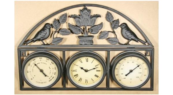 画像1: 湿度・温度計付き鳥のモチーフ付き掛け時計【カラー・ブラック】