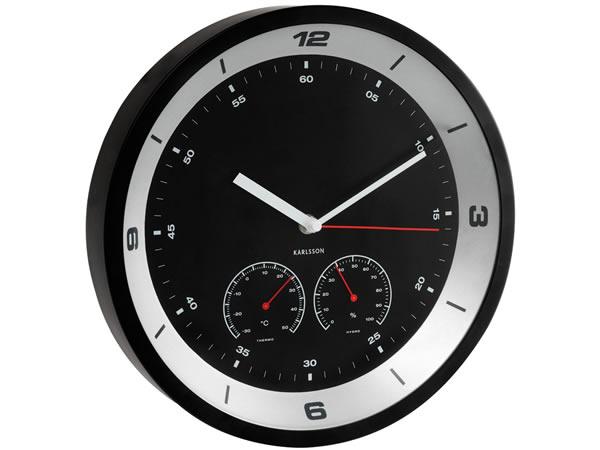 画像1: 湿度・温度計付き掛け時計【カラー・ブラック】【カラー・グレー】