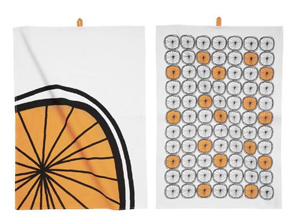 画像1: オレンジ柄の可愛いキッチン布巾2枚セット 【カラー・オレンジ】【カラー・ホワイト】