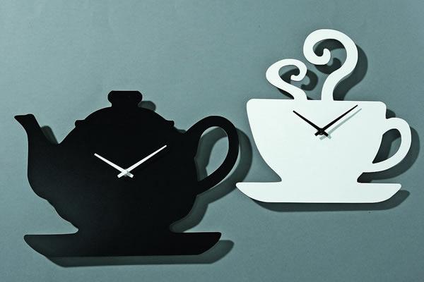 画像1: ティーポットとカップの掛け時計【カラー・ホワイト】【カラー・ブラック】