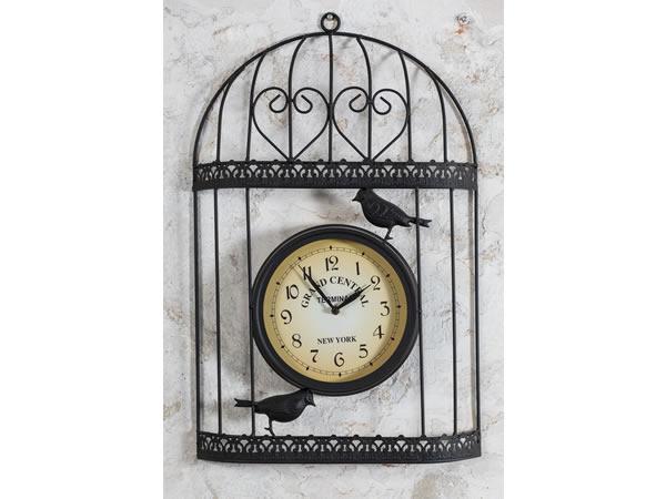 画像1: NEW YORK GRAND CENTRAL 鳥かごモチーフの掛け時計【カラー・イエロー】【カラー・ブラック】