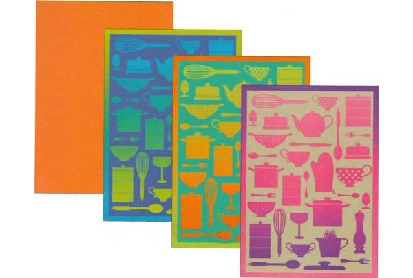 画像1: マイクロファイバー  キッチン布巾4枚セット 【カラー・ブルー】【カラー・レッド】【カラー・グリーン】