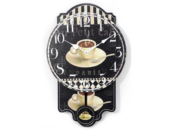 画像1: コーヒーがモチーフの振り子・掛け時計【カラー・ブラック】【カラー・ホワイト】