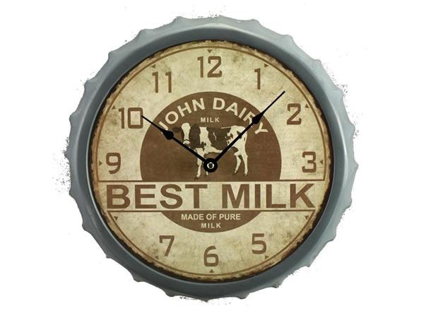 画像1: アンティーク風ミルクのキャップがモチーフの掛け時計【カラー・イエロー】【カラー・ブラウン】