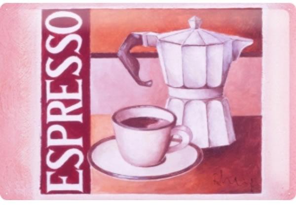 画像1: アンティーク風サインプレート イタリア エスプレッソ&モカ Espresso&Moka 30x20cm【カラー・マルチ】