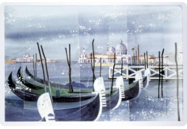 画像1: アンティーク風サインプレート イタリア ヴェネツィア Venezia ゴンドラ 30x20cm【カラー・ブルー】