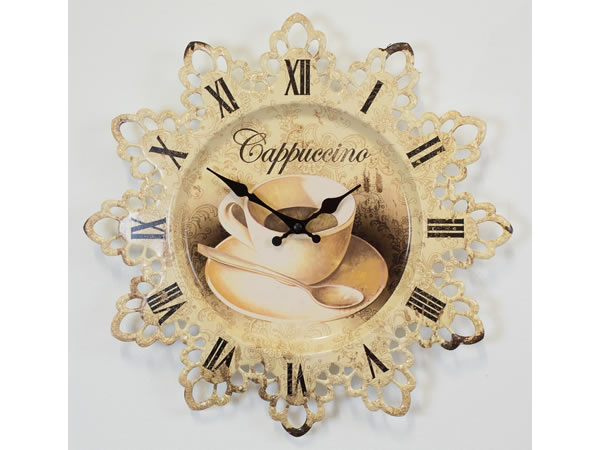 画像1: アンティーク加工カプチーノモチーフの掛け時計【カラー・イエロー】【カラー・ホワイト】