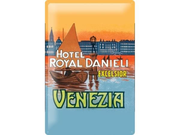 画像1: アンティーク風サインプレート イタリア ヴェネツィア Venezia Hotel Danieli 30x20cm【カラー・マルチ】【カラー・ブルー】【カラー・オレンジ】