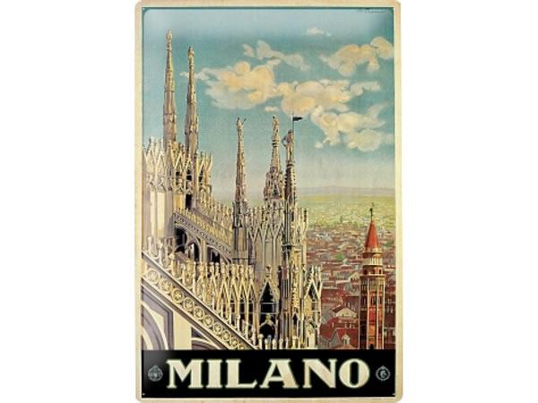 画像1: アンティーク風サインプレート イタリア ミラノ Milano 30x20cm【カラー・マルチ】【カラー・ブルー】【カラー・ブラック】