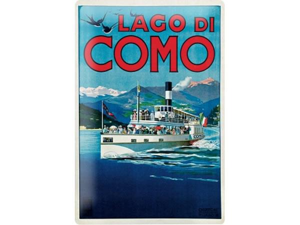 画像1: アンティーク風サインプレート イタリア コモ湖 Lago di Como 30x20cm【カラー・マルチ】【カラー・ブルー】