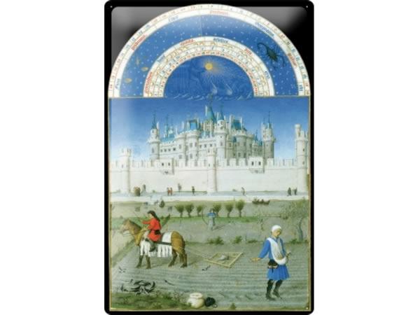 画像1: アンティーク風サインプレート 星座と城と農民の風景 30x20cm【カラー・グレー】【カラー・ホワイト】【カラー・ブラック】【カラー・ブルー】