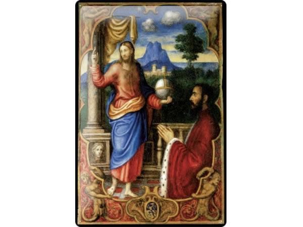 画像1: アンティーク風サインプレート 聖書から柱の近くのイエス 30x20cm【カラー・ブルー】【カラー・レッド】【カラー・オレンジ】【カラー・マルチ】