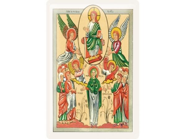 画像1: アンティーク風サインプレート 聖書から神とマリアと天使 30x20cm【カラー・イエロー】【カラー・グリーン】【カラー・オレンジ】