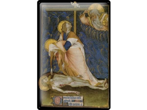 画像1: アンティーク風サインプレート 聖書からイエスと十字架と神 30x20cm【カラー・ホワイト】【カラー・ブルー】【カラー・ブラック】
