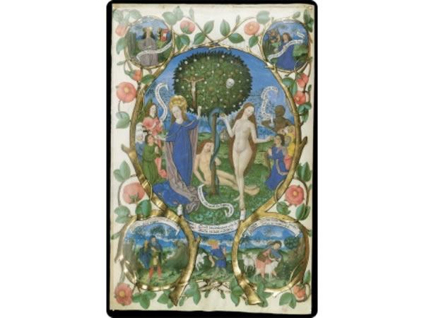 画像1: アンティーク風サインプレート 聖書からエデンの庭 アダムとイブと蛇 30x20cm【カラー・レッド】【カラー・イエロー】