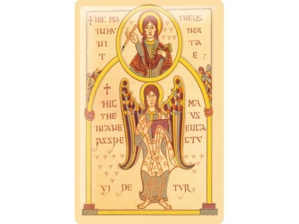 画像1: アンティーク風サインプレート 聖書から教会の窓と天使 30x20cm【カラー・イエロー】【カラー・ワイン】