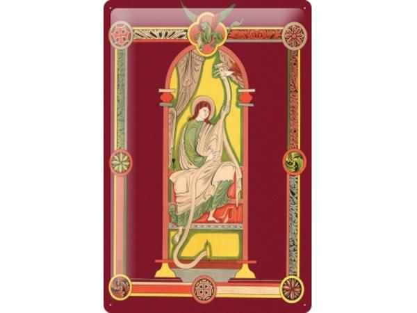 画像1: アンティーク風サインプレート 聖書から窓と人物像 30x20cm【カラー・イエロー】【カラー・ワイン】【カラー・グリーン】【カラー・マルチ】