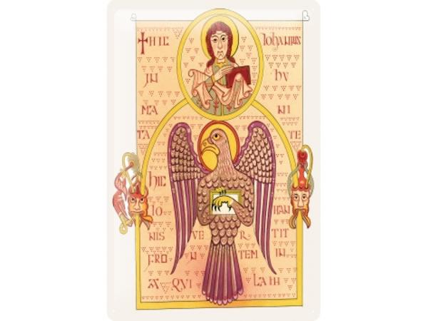 画像1: アンティーク風サインプレート 聖書からイエスと鳥 30x20cm【カラー・イエロー】【カラー・ワイン】