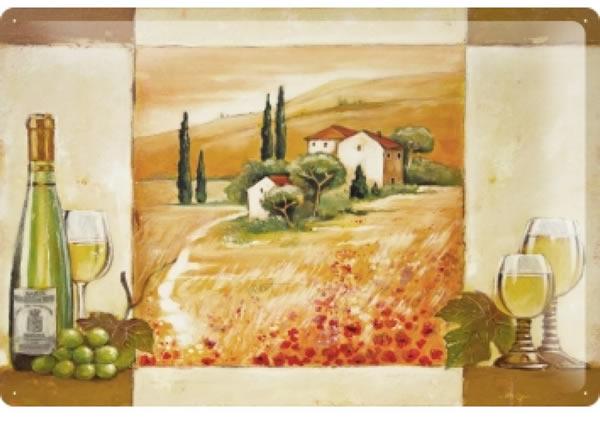 画像1: アンティーク風サインプレート イタリア トスカーナの景色 白ワイン 30x20cm【カラー・マルチ】