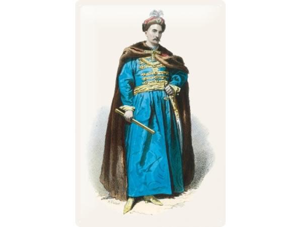 画像1: アンティーク風サインプレート 肖像画 ブルジョワ 茶色いマントの紳士 30x20cm【カラー・ブラウン】【カラー・ホワイト】【カラー・ブルー】