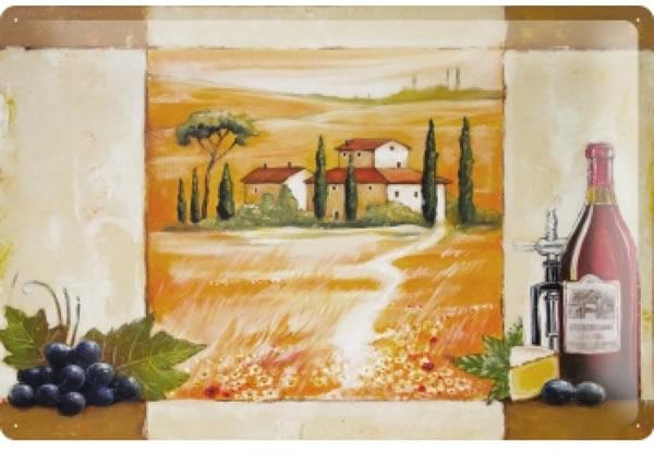 画像1: アンティーク風サインプレート イタリア トスカーナの景色 赤ワイン 30x20cm【カラー・マルチ】