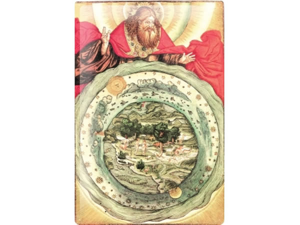 画像1: アンティーク風サインプレート 聖書からエデンの庭 アダムとイブ 神 30x20cm【カラー・レッド】【カラー・イエロー】