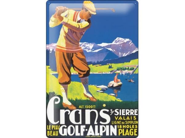 画像1: アンティーク風サインプレート アルプスのほとりでゴルフ アンティーク広告 30x20cm【カラー・グリーン】【カラー・ホワイト】【カラー・ブルー】【カラー・マルチ】