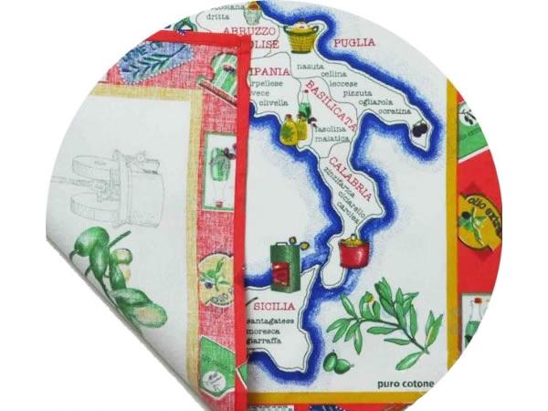 画像3: イタリア・オリーブオイルマップ  キッチン布巾3枚セット 【カラー・ブルー】【カラー・レッド】【カラー・グリーン】