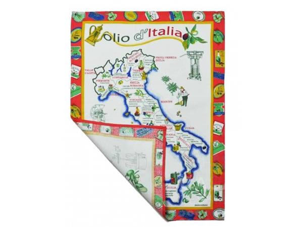 画像2: イタリア・オリーブオイルマップ  キッチン布巾3枚セット 【カラー・ブルー】【カラー・レッド】【カラー・グリーン】