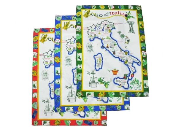 画像1: イタリア・オリーブオイルマップ  キッチン布巾3枚セット 【カラー・ブルー】【カラー・レッド】【カラー・グリーン】