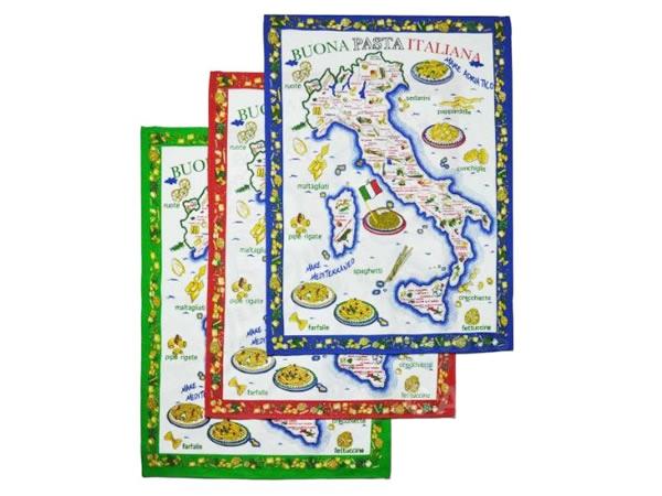 画像1: イタリア・パスタマップ  キッチン布巾3枚セット 【カラー・ブルー】【カラー・レッド】【カラー・グリーン】