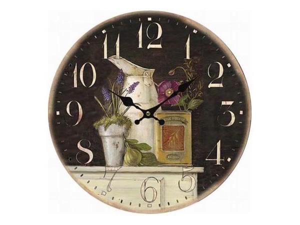 画像1: ラベンダー・オイルモチーフの掛け時計【カラー・ブラウン】【カラー・ホワイト】