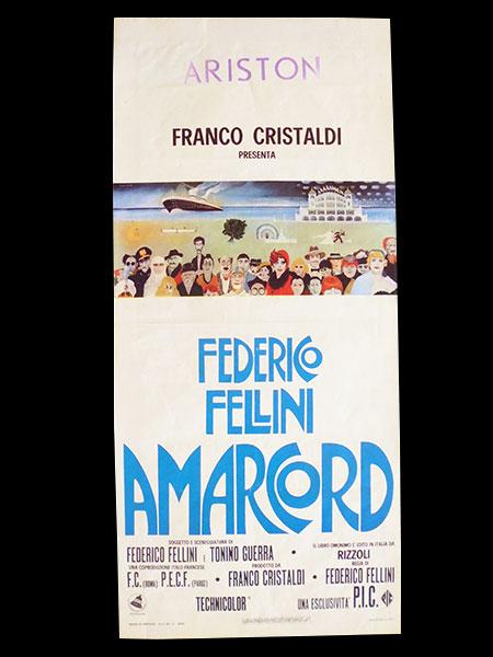 画像1: イタリア 映画 アンティークポスター Amarcord (1973年) フェリーニのアマルコルド  フェデリコ フェリーニ 33 x 70 cm locandine