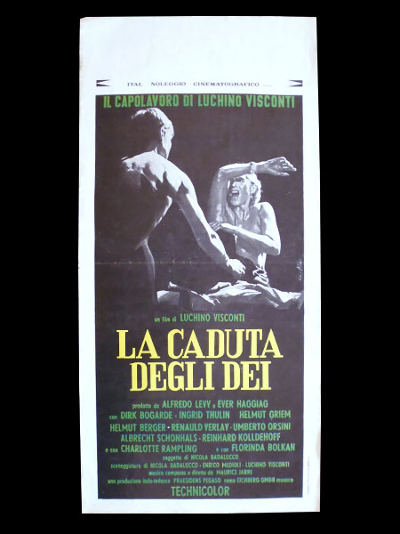 画像1: イタリア 映画 アンティークポスター La Caduta degli dei(1969) 地獄に堕ちた勇者ども ルキノ・ヴィスコンティ 33 x 70 cm