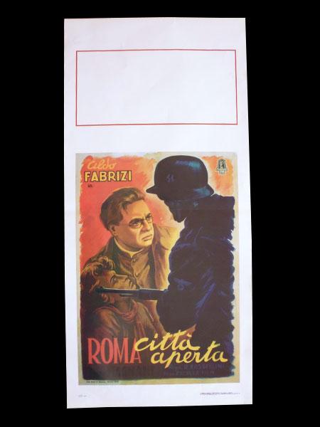 画像1: イタリア 映画 アンティークポスター Roma citta' aperta(1945) 無防備都市 ルキノ・ヴィスコンティ 33 x 70 cm