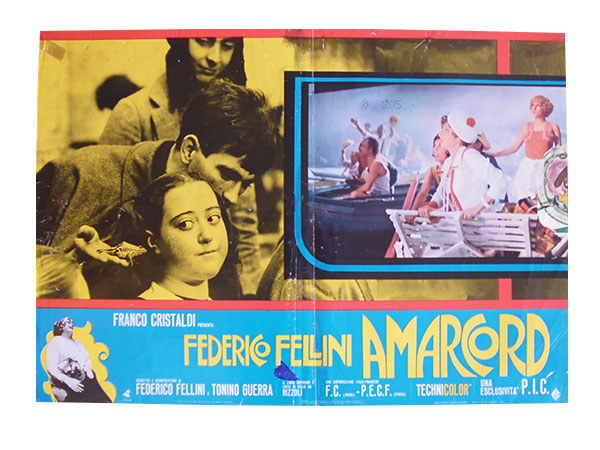 画像1: イタリア 映画 アンティークポスター Amarcord (1973年) フェリーニのアマルコルド  フェデリコ フェリーニ 50 x 70 cm FOTO BUSTE