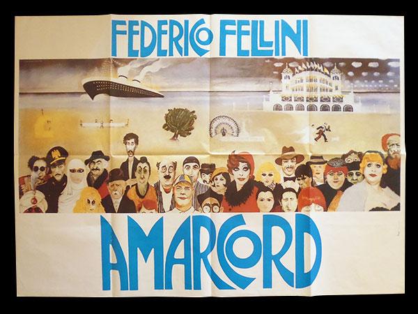 画像1: イタリア 映画 アンティークポスター Amarcord (1973年) フェリーニのアマルコルド  フェデリコ フェリーニ 100 x 140 cm manifesti