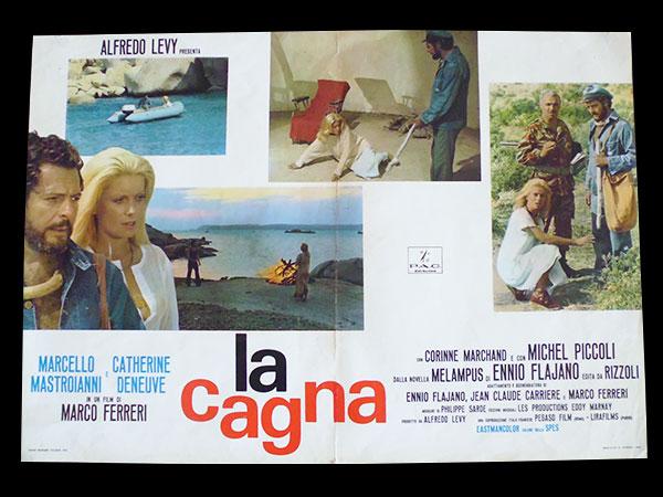 画像1: イタリア 映画 アンティークポスター La cagna (1972年)ひきしお マルコ・フェレーリ カトリーヌ・ドヌーヴ  50 x 70cm FOTO BUSTE