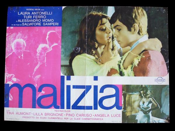 画像1: イタリア 映画 アンティークポスター Malizia (1973年) 青い体験 サルヴァトーレ・サンペリ  50 x 70cm FOTO BUSTE