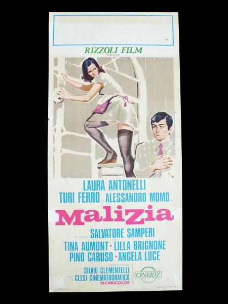 画像1: イタリア 映画 アンティークポスター Malizia (1973年) 青い体験 サルヴァトーレ・サンペリ  33 x 70 cm locandine