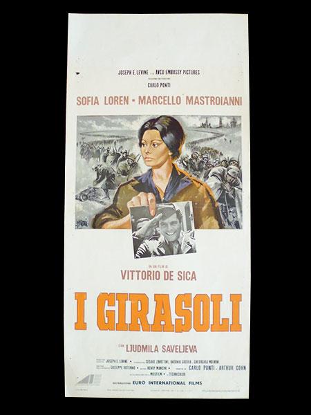 画像1: イタリア 映画 アンティークポスター  I girasoli(1970年)ひまわり ヴィットリオ・デ・シーカ マルチェロ・マストロヤンニ ソフィア・ローレン 33 x 70 cm locandine