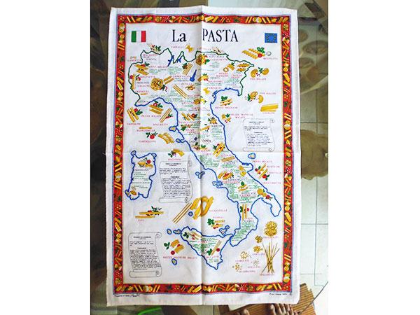 イタリア・パスタマップ☆イタリア製コットン大判布巾