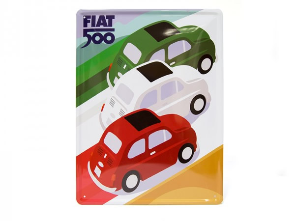 画像1: 9柄展開 FIAT 500 サインプレート 30 x 40 cm フィアット【カラー・ブルー】【カラー・レッド】【カラー・イエロー】【カラー・ブラック】【カラー・グレー】【カラー・オレンジ】