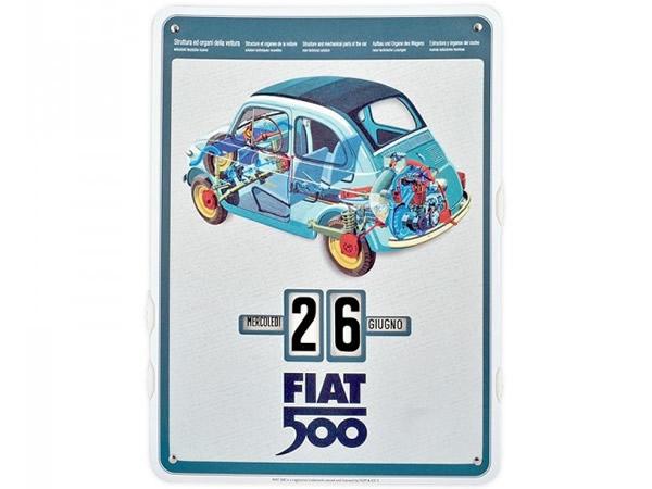 画像1: 万年カレンダー フィアット FIAT 500 - SPACCATO - イタリア インテリア【カラー・ブルー】