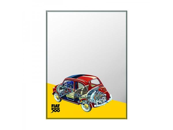 画像3: 4柄展開 FIAT 500 デザイン鏡 ミラー 20 x 30 cm フィアット【カラー・ブルー】【カラー・レッド】【カラー・イエロー】【カラー・ブラック】【カラー・グレー】【カラー・オレンジ】