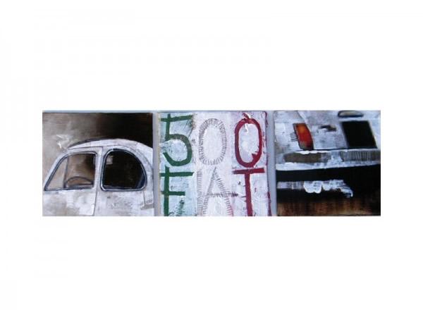 画像1: FIAT 500 アートパネル キャンバスプリント  120 x 40 cm フィアット 【カラー・マルチ】