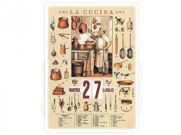 画像1: 万年カレンダー キッチン LA CUCINA - イタリア インテリア【カラー・イエロー】【カラー・マルチ】